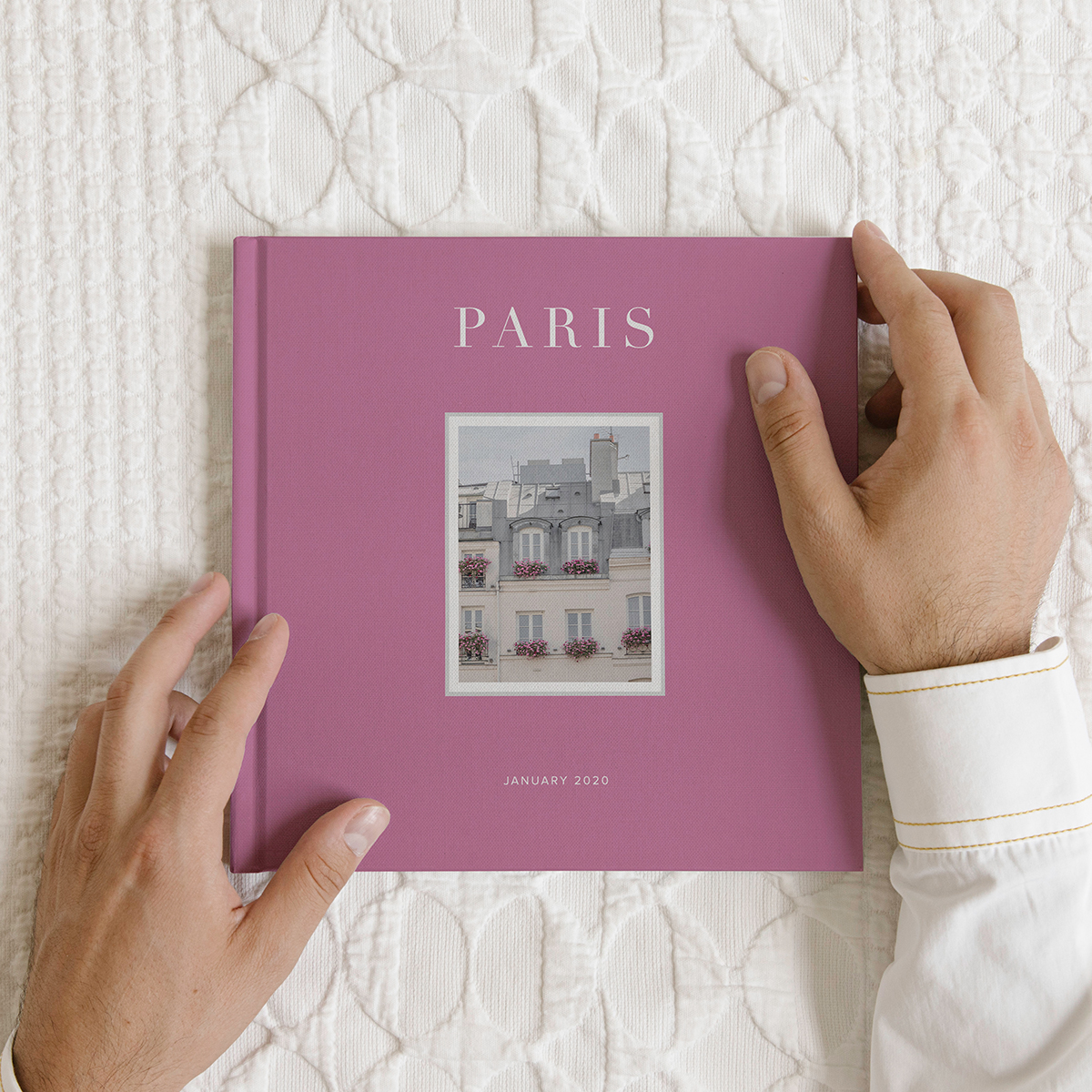 Artifact Uprising Photo-Wrapped Hardcover Book titled Paris featuring photo of Parisian architecture
