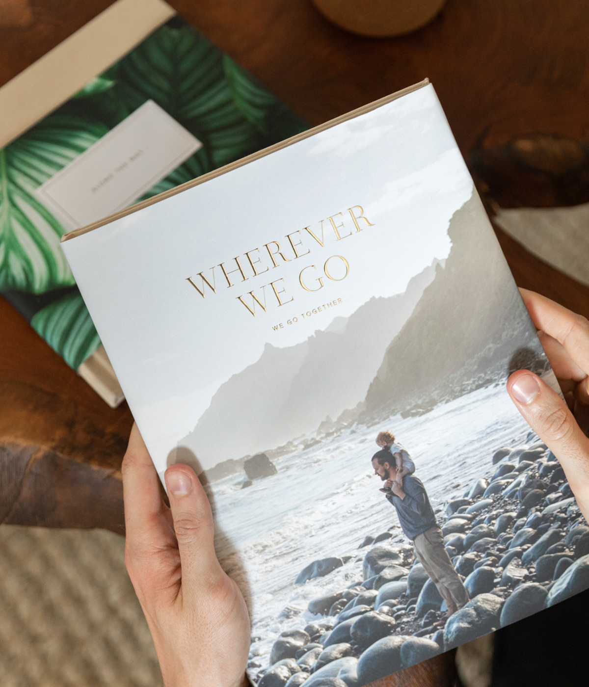 Hardcover Photo Book with full dust jacket featuring photo of dad and baby on beach and digital foil title