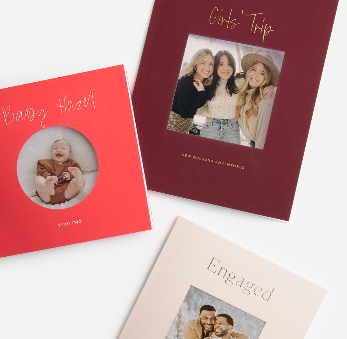 Three Color Series Photo Books featuring different cover hues and die-cut shapes