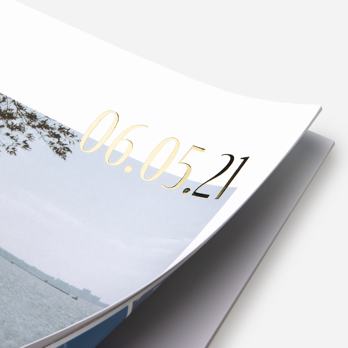 Zoomed in on foil cover title of Softcover Photo Book