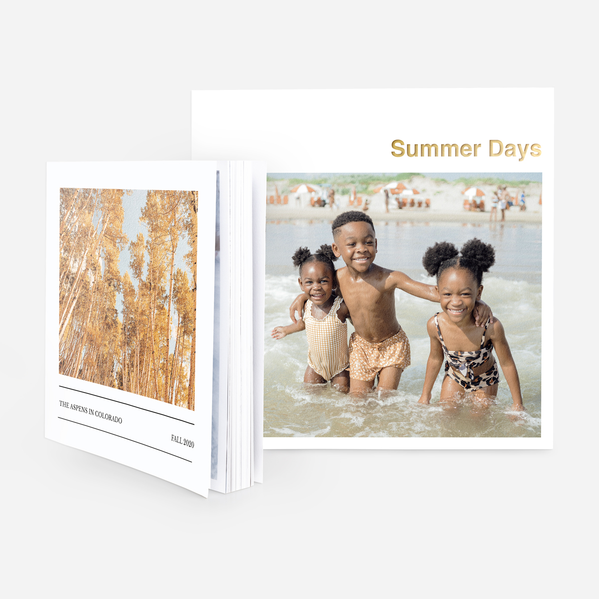 Artifact Uprising Softcover Photo Book featuring digital foil title and photo of three little kids on the beach