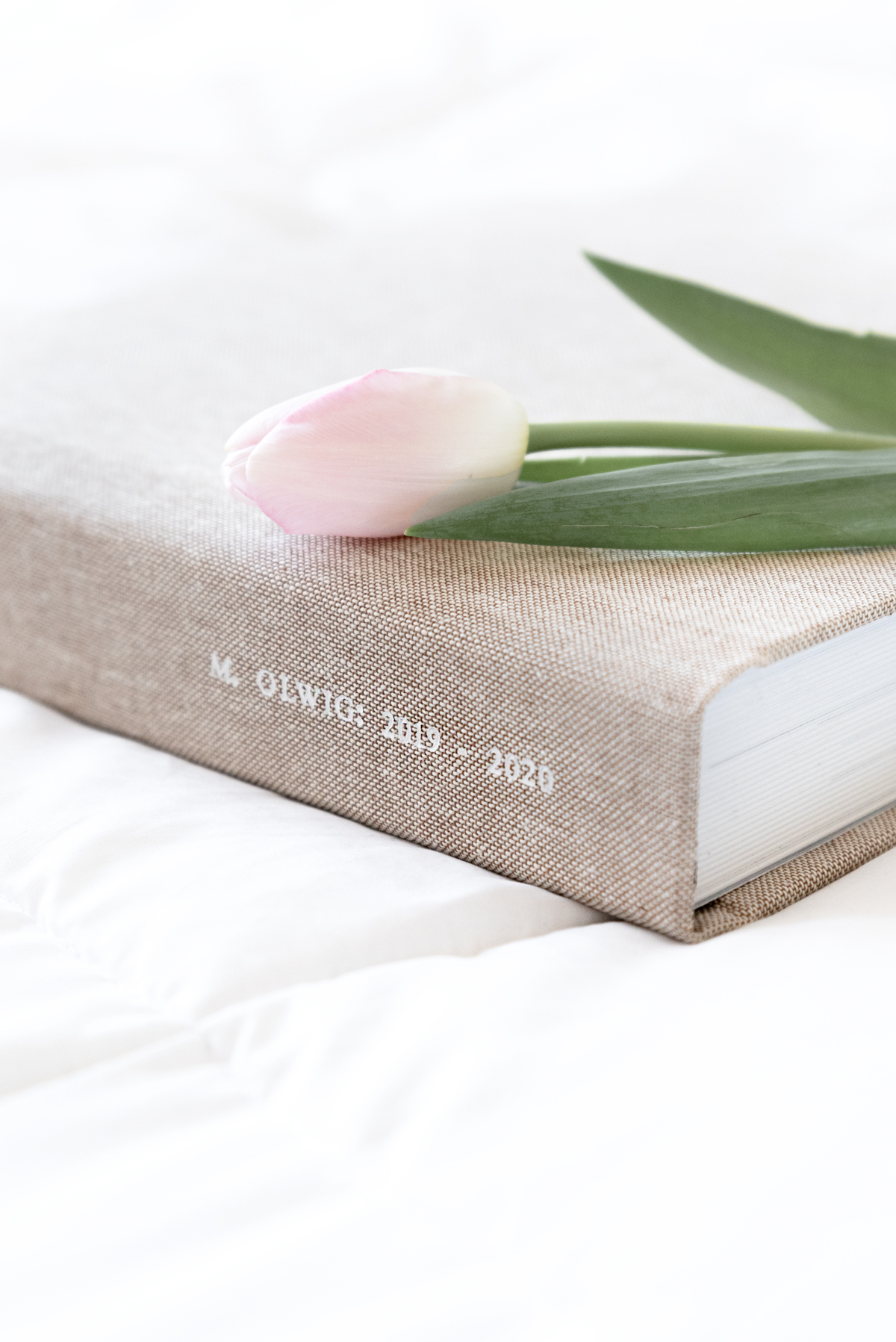 Zoomed in on white foil stamping reading 2019-2020 on spine of Oatmeal Layflat Photo Album