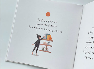 Dedication page of Artifact Uprising Photo-Wrapped Hardcover Book printed as a children's alphabet book with customer illustrations and alliterative sentences