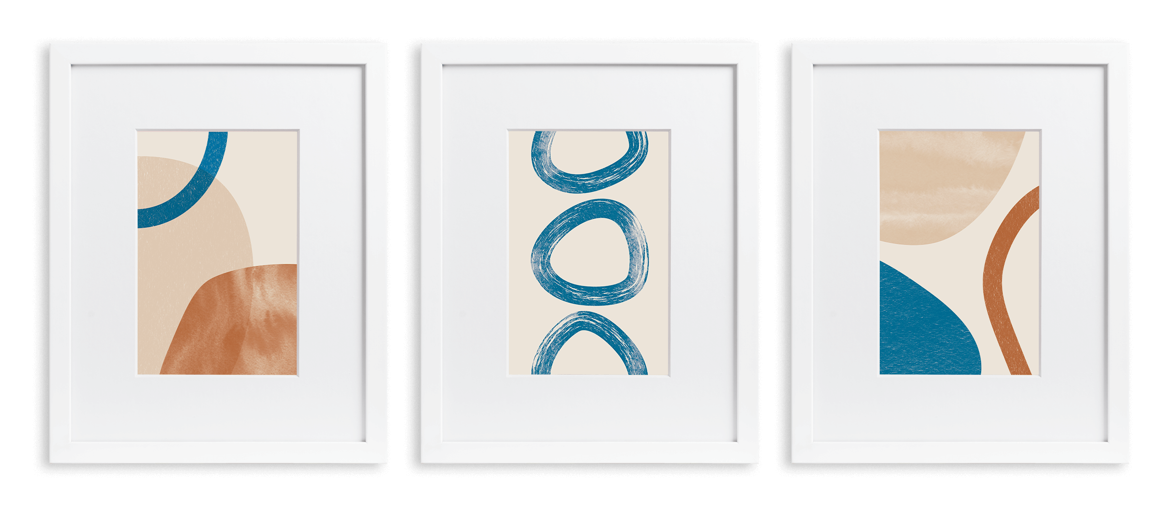 3 white frames with a mix of circular shapes in blue, tan, and orange