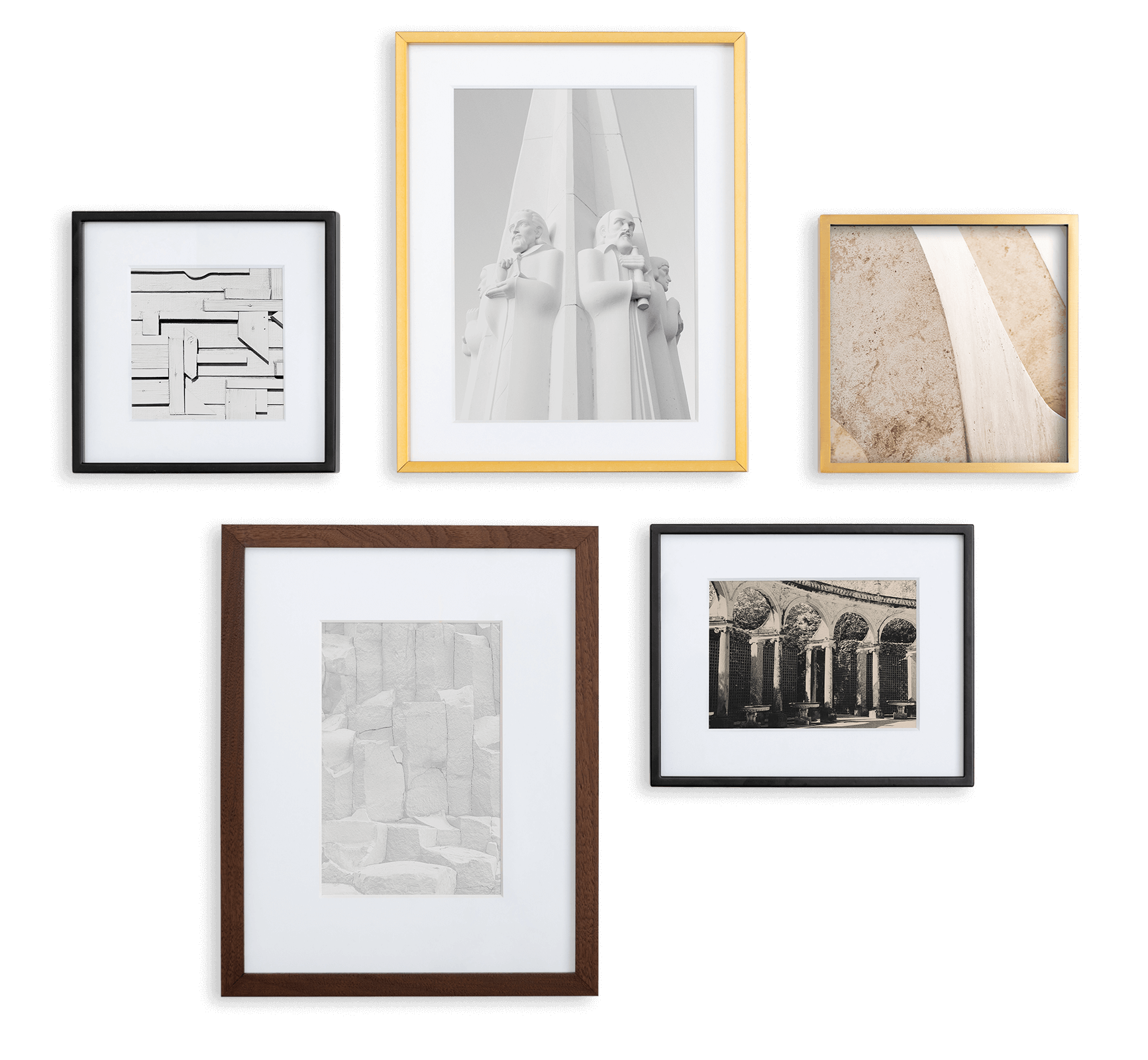 5 frames in various sizes and finishes with photographs of architecture, statues, walls, and more