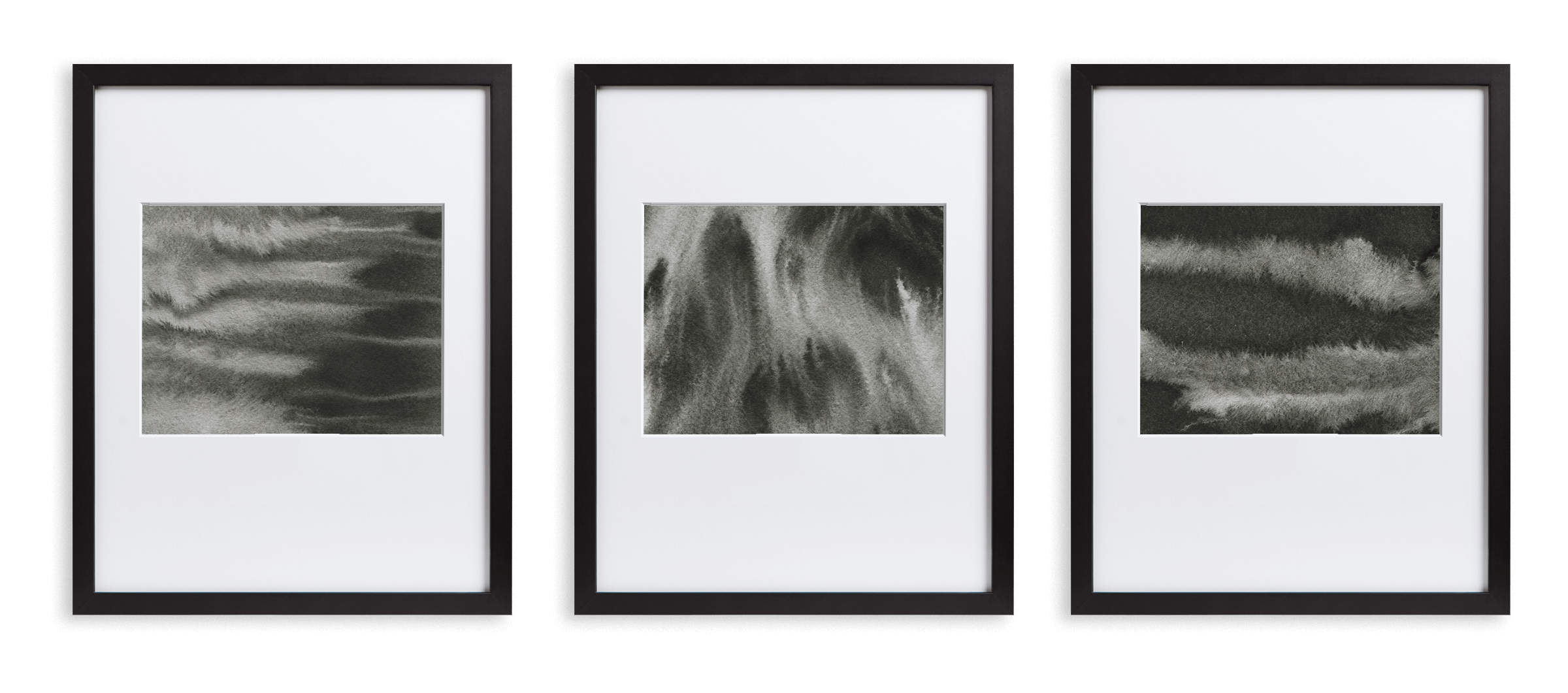 3 black frames with minimal drawings of cacti, houses, and greenery in black and white