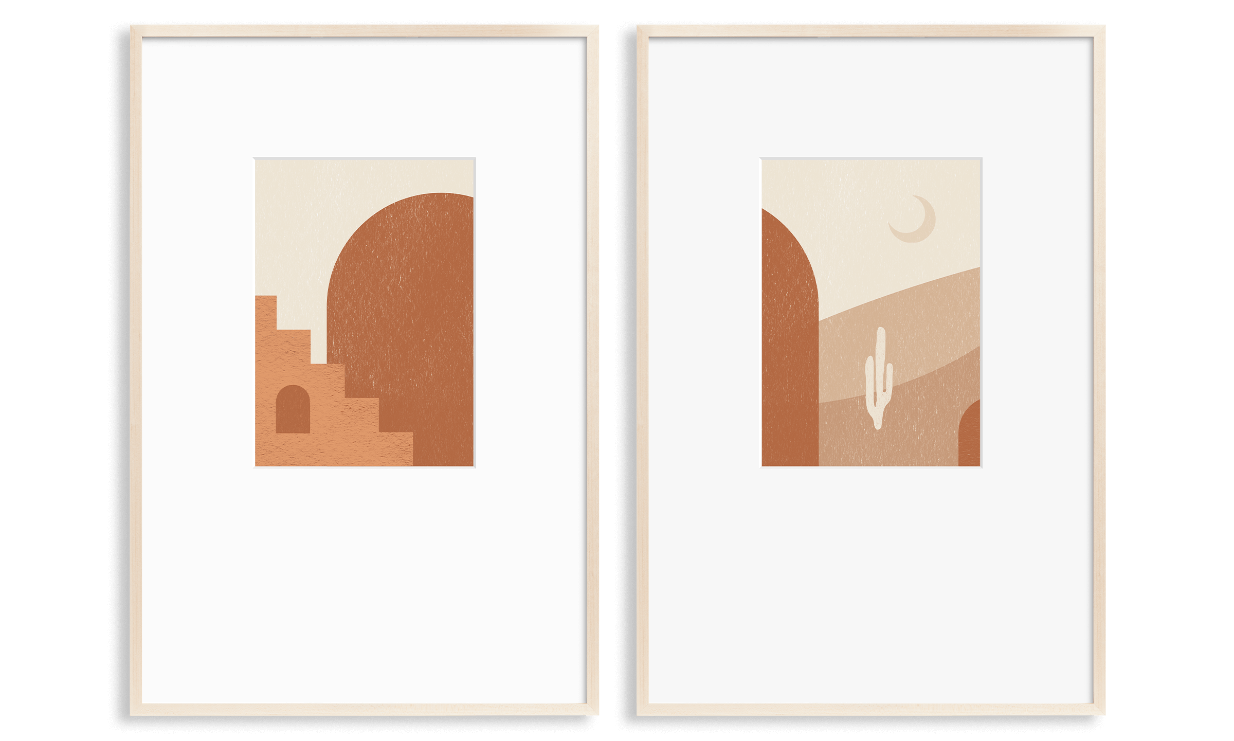 3 light wood frames (2 large, 1 small) — with a modern depiction of a western scene and a tile-like horizon design