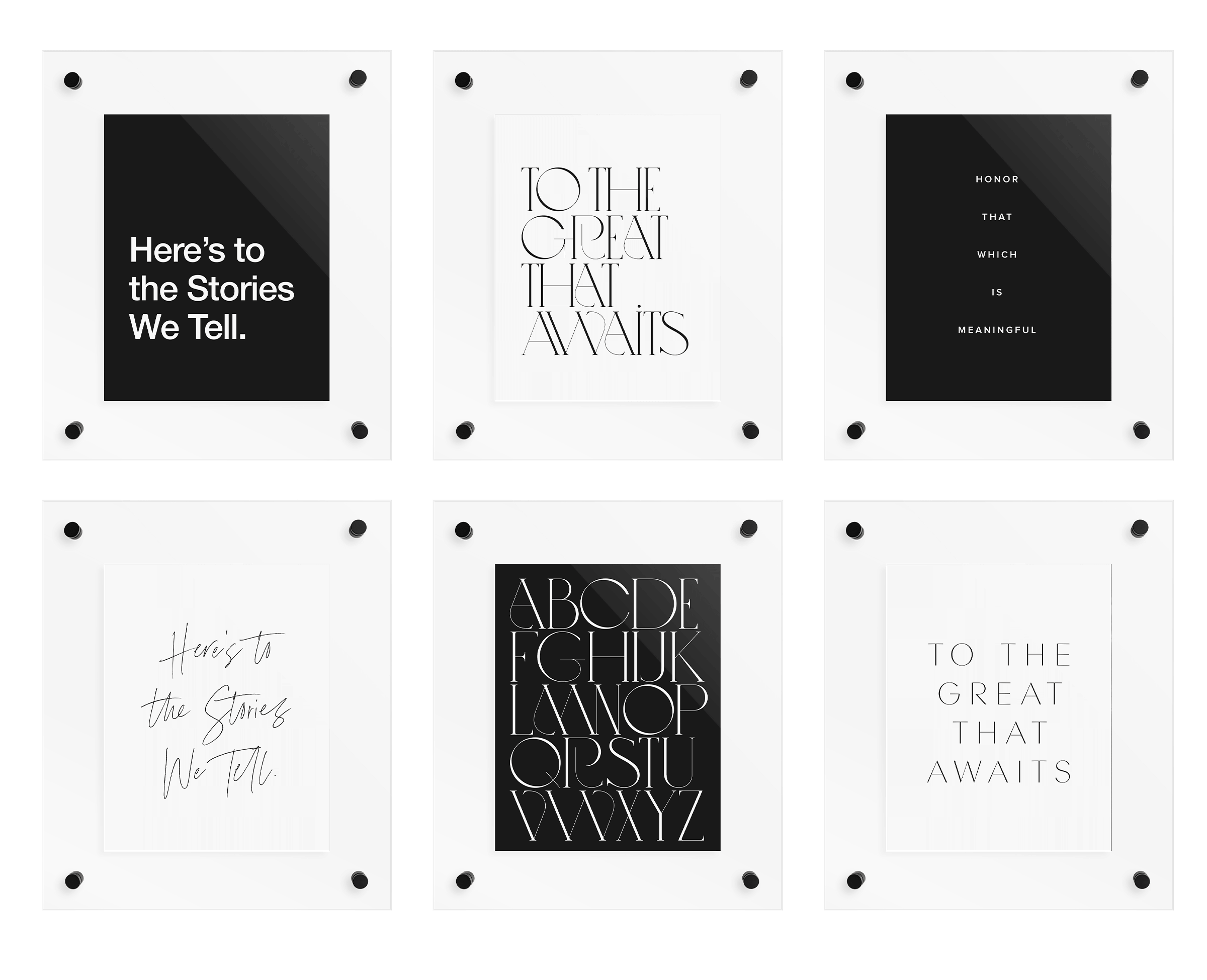 6 floating frames with various quotes and letters in black and white