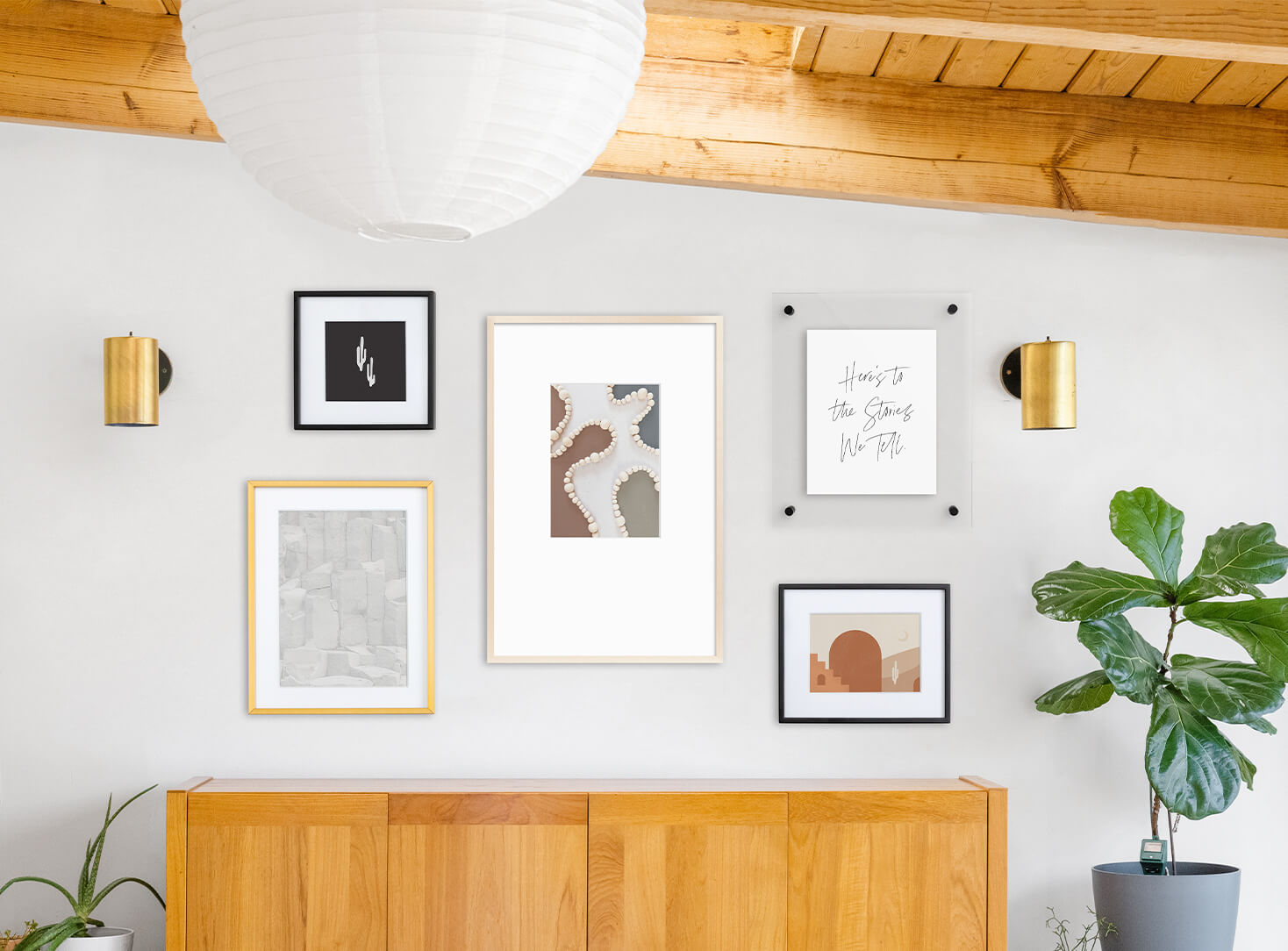 Beautifully modern, mismatched gallery wall featuring frames and downloadable art prints from Artifact Uprising