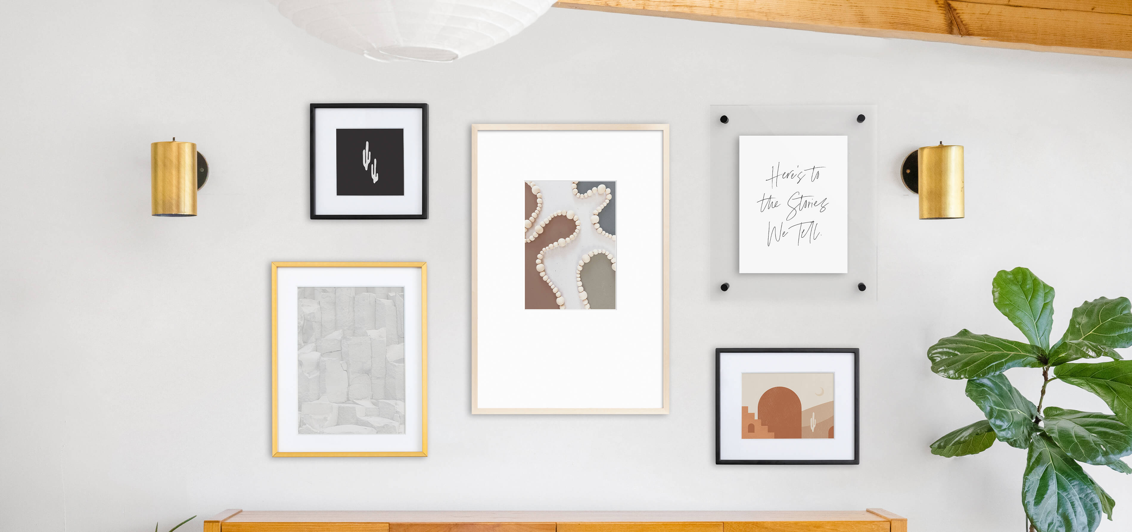 Modern mismatched gallery wall featuring frames and free art prints from Artifact Uprising
