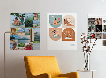 Three Artifact Uprising Poster Prints on wall above honeycomb armchair